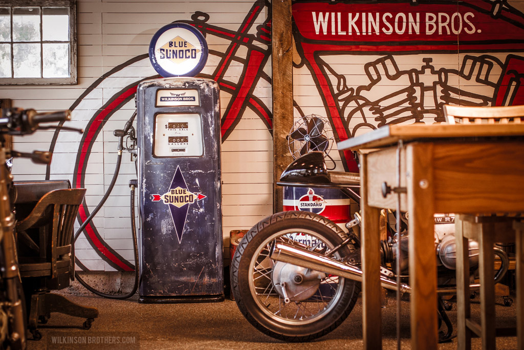 The 1950s gas pump and its thematic patina fits right into the shop's Americana.