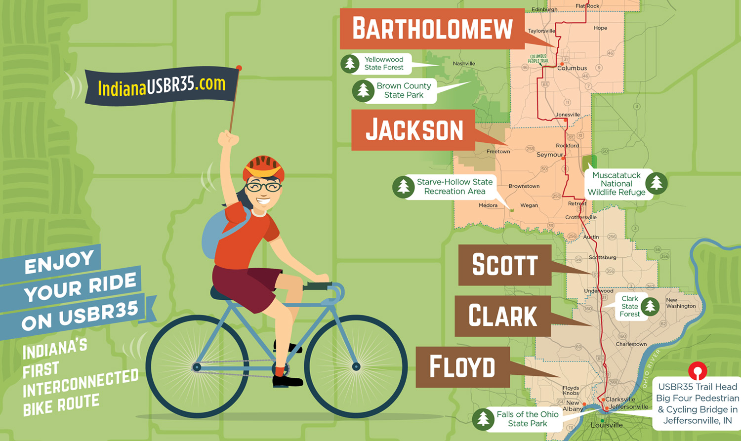 Bicycle Route Trail Map Wilkinson Brothers Graphic Design And - Us-bicycle-route-system-map
